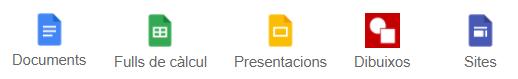 Documents, Fulls de càlcul, Presentacions, Dibuixos, Sites